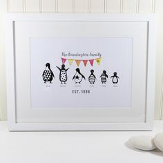 Personalised Monochrome Penguin Family Print by Thisisnessie on Etsy https://www.etsy.com/uk/listing/483808827/personalised-monochrome-penguin-family