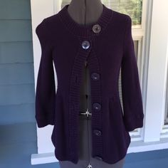 """AMERICAN EAGLE Purple Sweater American Eagle dark purple knit sweater.  Can be worn as sweater top or open with dress, jeans, or a skirt. 3/4 sleeves.  Big beautiful button front.  100% cotton.  Excellent, like new.  Shoulder width 13"""".  Length 23"""" (shoulder to hem). American Eagle Outfitters Sweaters Cardigans"""