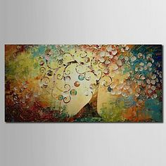 Hand Painted Oil Painting Landscape Tree of Life with Stretched Frame – USD $ 69.99