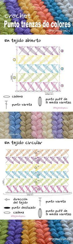 Punto trenzas de colores a crochet paso a paso