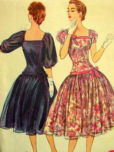 Vintage 50's McCalls Pattern 3180 - ELEGANT Full Skirt Dropped Waist Party Dress - Bust 36. $39.60, via Etsy.