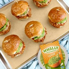 Chicken Enchilada Sliders with WHOLLY® Guacamole   Wholly Guacamole Quick Crockpot Meals, Crockpot Dishes, Crockpot Recipes, Chicken Recipes, Wholly Guacamole, Avocado Dip, Avocado Toast, Red Enchilada Sauce, Mexican Food Recipes