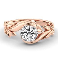 Rose Gold Engagement Ring 1 Carat Diamond Ring by DiamondsMine
