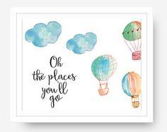 Nursery Decor, Baby boy, Hot Air Balloon Oh the Places You'll Go, Dr. Suess, Nursery Wall Art Print Art, Baby Girl Room, Digital Download