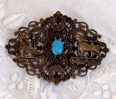 Egyptian Revival belt buckle turquoise glass stone by niddiebone, $35.00