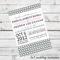 DIY Wedding Invitation Set Printable - Brennan Design - currently shown in Light Grey, Light Pink, Black, and White Polkadot