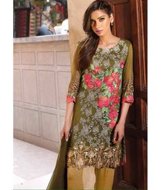 Naksh - Pleasing Mehendi Green Georgette Straight Suit