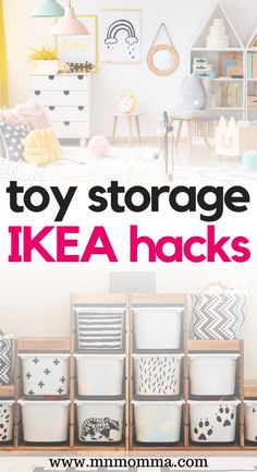 The best IKEA toy storage hacks and ideas for living room, bedroom, playroom, bath, and for small spaces. These easy DIY hacks are perfect for parents of kids wondering how to organize toys. Many of these hacks utilize IKEA Trofast or Kallax pieces of furniture to hack your way to a unique DIY toy storage solution! These are a MUST SEE for all parents hoping to clear their toy clutter with labels, bins, and more! #ikeastoragehacks #ikeahacks #storagetips #toystorage Ikea Kids Storage, Toy Room Storage, Kids Bedroom Storage, Extra Storage, Small Living Room Storage, Living Room Hacks, Ikea Hack Kids Bedroom, Ikea Kids Playroom, Kids Bedroom Ideas