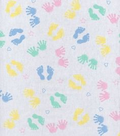Snuggle Flannel Fabric Pastel Hands