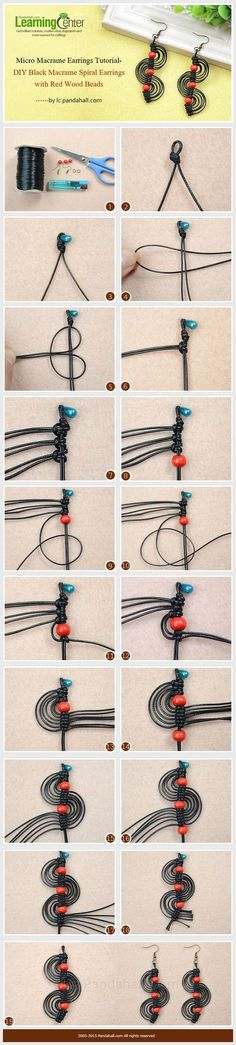 Micro Macrame Earrings Tutorial-DIY Black Macrame Spiral Earrings with Red Wood Beads: