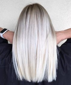 Mid-Length Straight Platinum Blonde Hair