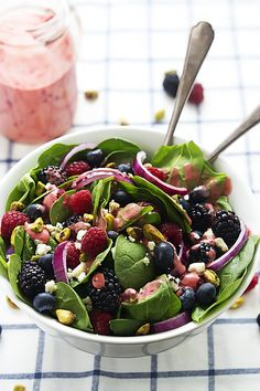Berry Lover's Spinach Salad with Berry Vinaigrette - omit the sprinkle of cheese for this fresh Phase 3 salad.