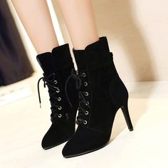 Pointed Toe Lace UP Solid Color Short High Heels Boots