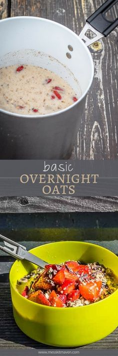 These Basic Vegan Overnight Oats are the perfect breakfast grab and go meal. Healthy Vegetarian Breakfast, Vegan Breakfast Recipes, Vegan Recipes Easy, Vegan Overnight Oats, Camping Breakfast, Perfect Breakfast, Camping Meals, Ethnic Recipes, Outdoor Camping