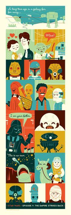 Star Wars fan art: The Empire Strikes Back | By: Dave Perillo via GeekTyrant | #starwars #empirestrikesback #starwarsfanart