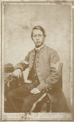 During the Civil War, scholars have found that as many as, if not more than, 50 Chinese soldiers fought on both sides. This dapper fellow's name is Joseph Pierce. At the time, many Chinese went by Anglicized names. Pierce fought on the Union side and was eventually promoted to Corporal.