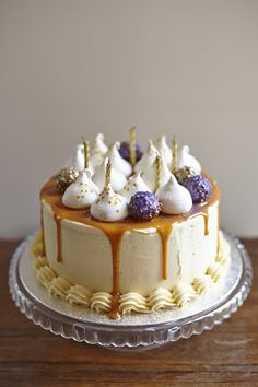 Salted Caramel Cake With Meringue Kisses And Glittery Chocolate Truffles By Neighbourhood Bakes