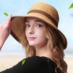 FuzWeb Summer Straw Hats For Women Sun Hat Floppy Bucket Hat Girls Elegant  Bowknot Outdoor Sombreros Mujer Verano Playa 32b44871d8d