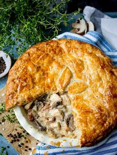 My chicken and mushroom pie is proper comfort food. Encased in buttery puff pastry, and made extra special with a sprinkling of bacon, it's a family mealtime favourite. Chicken And Mushroom Pie, Creamy Chicken Pie, Bacon Mushroom, Chefs, Bacon Pie, Bacon Bacon, Puff Pastry Chicken, Deep Dish, Puff And Pie