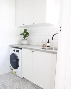 "Visit our site for more info on ""laundry room storage diy small"". It is actually an exceptional spot to find out more. Modern Laundry Rooms, Laundry In Bathroom, Bathroom Renos, Master Bathroom, Laundry Closet, Bathrooms, Caesarstone Raw Concrete, Concrete Kitchen, Concrete Tiles"