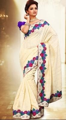 Gleaming Off White Embroidered Saree