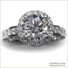 2.00 carat engagement ring with a diamond halo: Paradiso-3077R @Verragio