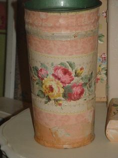 Vintage Roses Wallpaper Sap Bucket Cottage Vase Recycled Chic Organization Simply Cottage Chic. $38.00, via Etsy.