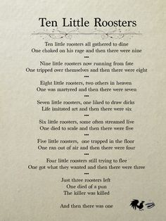Ten Little Rooster poem Rooster Teeth Steven Universe, Roosterteeth Rwby, Roster Teeth, Just Love, Let It Be, Achievement Hunter, Red Vs Blue, Geek Out, Agatha Christie