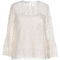 Philosophy Di Lorenzo Serafini Blouse ($315) ❤ liked on Polyvore featuring tops, blouses, white, lace blouse, long sleeve lace top, long sleeve blouse, white lace blouse and lace collar top
