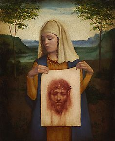 When Christ fell on his way to the Golgotha, a woman wiped his face with a towel; an image of Christ remained on the towel. This woman was Veronica; this incident is all we really know about her, and the relic has become her symbol ever since. Her feast day is July 12. She is the patron of photographers and laundry workers.