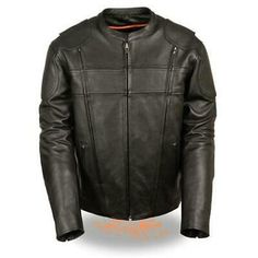 Milwaukee Leather Vented MC Lapel Jacket womens With Full Sleeve Interior Hoodie BLACK, LG