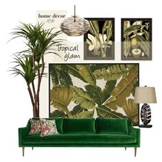 """Tropical Glam"" by youaresofashion ❤ liked on Polyvore featuring interior, interiors, interior design, home, home decor, interior decorating, Home Decorators Collection, Kenroy Home, ModShop and Arteriors"