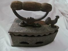 Sad Coal Fired Clothes Press Iron with Rooster Latch need to find one with rooster latch