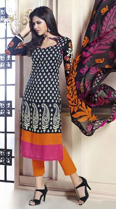 Classy Dark Blue And Orange Pashmina Palazzo Pant Suit With Dupatta