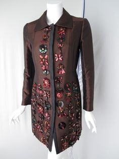 2005 Prada Coat w/Jeweled, Sequined & Tulle-Backed Appliques 2
