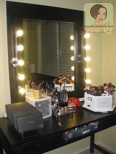 My Makeup Vanity Set-Up With DIY Lighted Mirror |The Shades Of U Makeup @Bekah Carroll fields