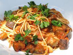 Spaghetti aux aubergines et champignons