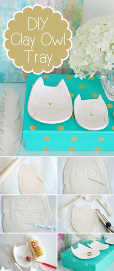 Adorable DIY owl tray to hold your rings. earrings and other jewelry. It's much easier to make than you think, especially if you follow these instructions: http://www.ehow.com/ehow-crafts/blog/how-to-make-a-clay-owl-tray/?utm_source=pinterest&utm_medium=fanpage&utm_content=blog&crlt.pid=camp.mQ4gP1ZUeHtp