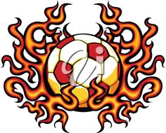 iCLIPART - Royalty Free Clipart Image of a Flaming Soccer Ball