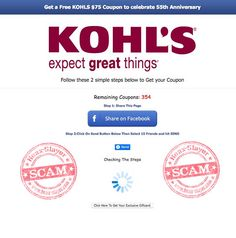 'Free Kohl's $75 Coupon' Post is a Scam