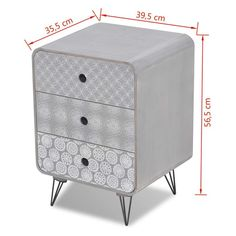 vidaXL Side Cabinet with 3 Drawers Grey Bedside Storage Plant Telephone Stand 8718475946878 3 Drawer Bedside Table, Bedside Storage, Bedside Cabinet, Bedside Tables, Living Furniture, Home Furniture, Armoire, Home And Garden Store, Love Your Home