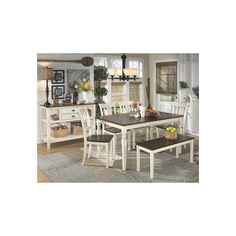 kimonte rectangular counter height table w/ 4 ivory barstools is