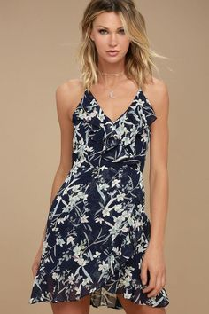 f15eb5cd0ec The Belong to You Navy Blue Floral Print Sleeveless Dress is up for grabs