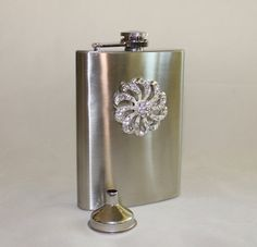 Sweet Girly, Jeweled Pinwheel Bling, Stainless Hip Flask with Funnel by cocoandcoffeetoo