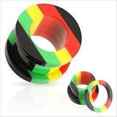 1+PAIR+Jamaican+Rasta+Acrylic-Screw+Fit+Ear+Plugs-Tunnels-Gauges++#ExpressBodyJewelry