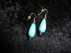 Natural Turquoise Stone Pierced Earrings by MaggieRozeCreation, $6.99