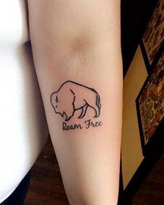 Buffalo tattoo, by John at Mecca Tattoo. Roam Free, inner elbow buffalo tattoo.