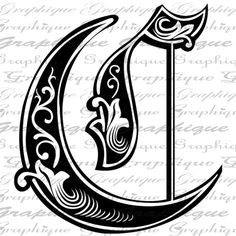 LETTER Initial C Monogram Old ENGRAVING Style Type by Graphique