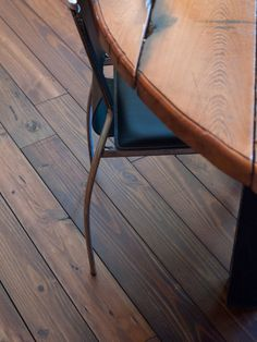"""Give your kitchen a """"cafe"""" feel with our prefinished """"Harvest Blend"""" reclaimed Heart Pine #flooring! #homes #pinefloors"""