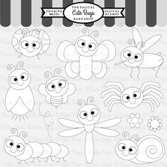 Cute Bugs Stamps - adorable stamps for all your craft needs.  11 graphics included.